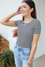 Striped black and white short sleeve bodysuit