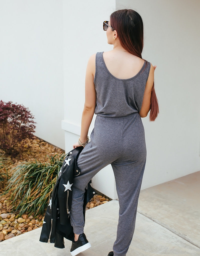 Sleeveless Grey Jumpsuit