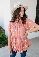 Ces Femme Coral Three Tier Ruffle Blouse With Polka Dots