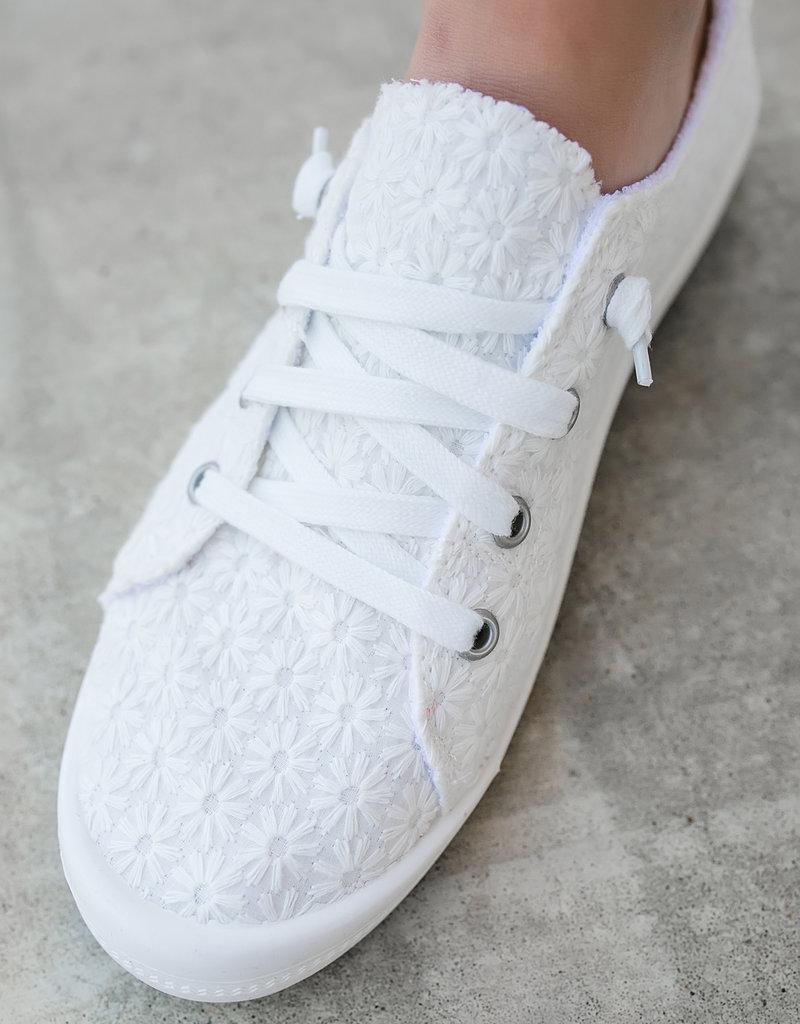 White Daisy Slip On Sneakers