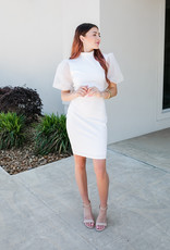 1 funky White Balloon Sleeve Fitted Cocktail Dress