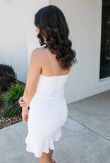 White Sleeveless Heavy Knit Dress W/ Scalloped Neck Detail