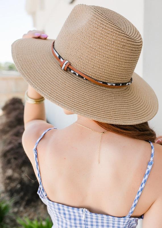 urbanista Dark Natural Panama Hat with Animal Print and Brown Trim