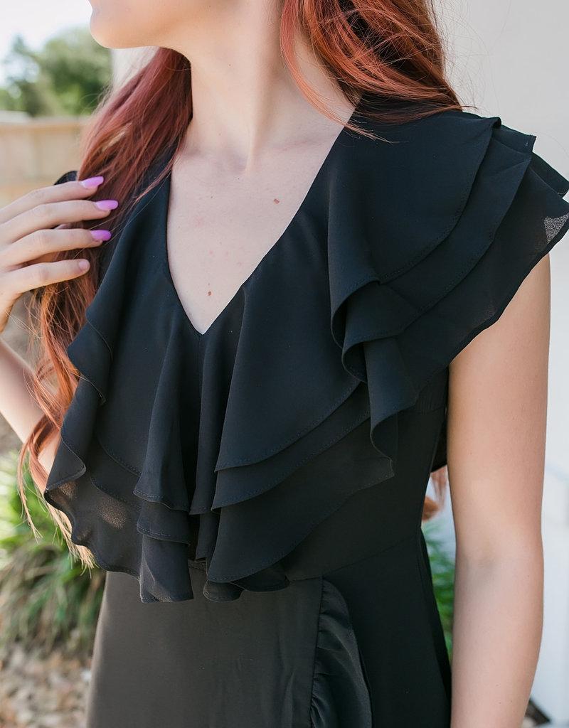 1 funky Black Ruffle Dress with V-neck