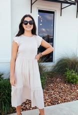 Mine Beige Smocked Top w/ Layered Skirt Dress