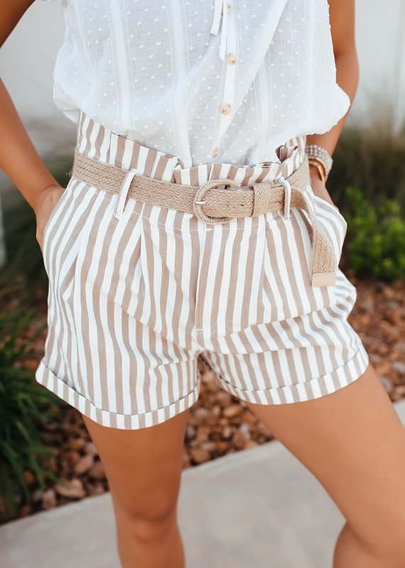 Mine Taupe/White Striped Shorts with Woven Belt