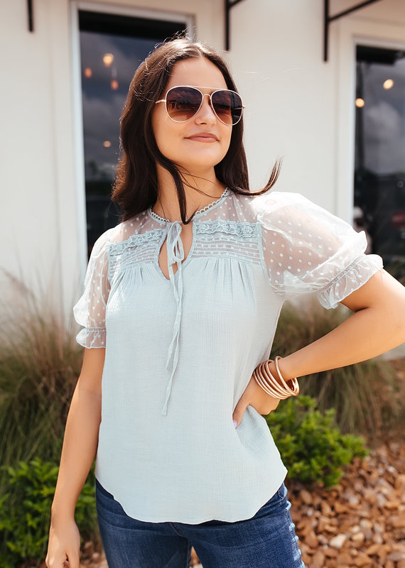 Mine Sage Keyhole Neck with Tie and Puff Sleeve Top