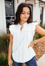 Mine White Keyhole Neckline with Buttondown Detail Top