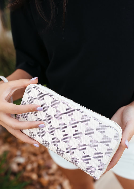 Zip Around Checkered Wallet w/ Wrist Strap