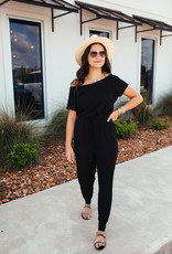 HYFVE Black Jumpsuit With Cinched Waist and Front Tie