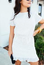 HYFVE White Dress w/ Polka Dot Detail and Smocked Bottom