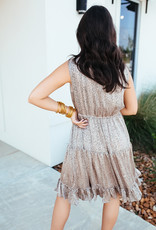 Ces Femme Taupe Leopard Print Dress with Gold Detail