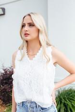 Shiying Fashion White Lace V-neck Tank Top