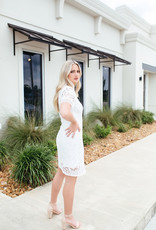 White Short Sleeve Crochet Lace Dress w/ Lining