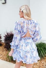 Shiying Fashion Blue and Orange Ruffle Detail w/ Open Back
