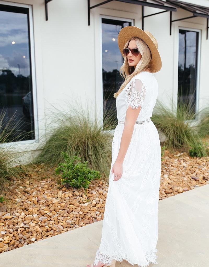 Shiying Fashion White Fill Your Heart Maxi Lace Dress