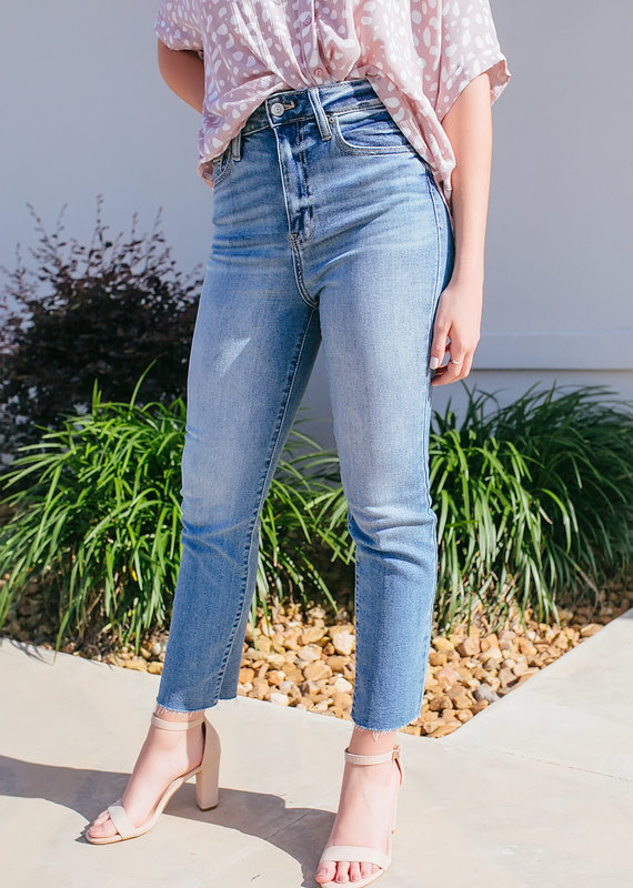 eunina Ally Ultra High Rise Straight Crop Jeans
