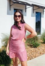 Mini Mock Neck Dress w/ Runched Skirt
