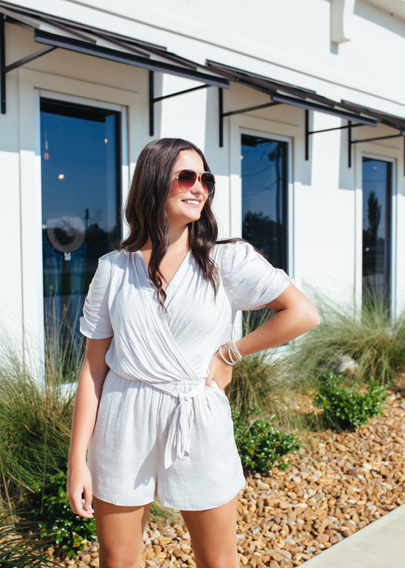 Ruched Short Sleeve Romper