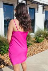 Hot Pink Cowl Neck Slip Dress