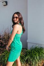 Kelly Green Twist Back Mini Dress