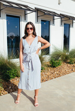 Midi Dress with Button Up Detail and Belt