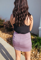 Lilac Runched Mini Skirt