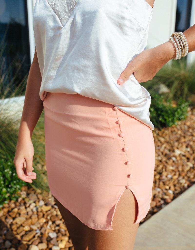 Coral Mini Skirt w/ Button Detail