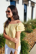 Gold Off the Shoulder Ruffle Blouse
