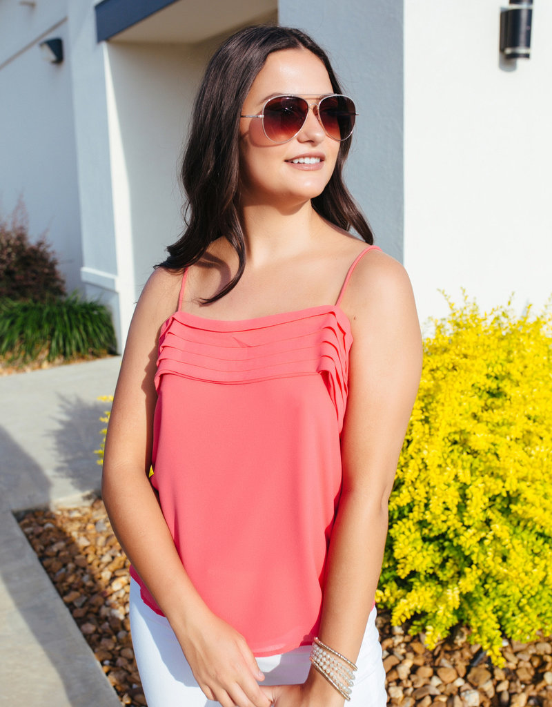 Coral Pleated Cold Shoulder Blouse