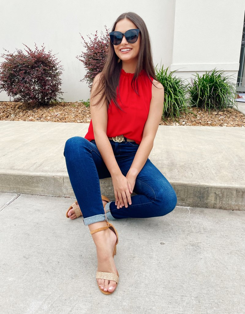 Red Crew Neck Sleeveless Top with Front Hook