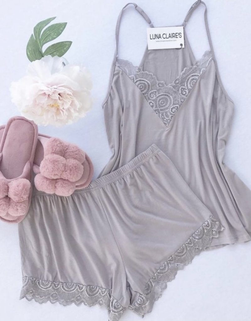 Trend:Notes Laced Cami and Short PJ Set