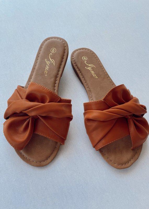 Tan Knot Detail Slip-on Sandal