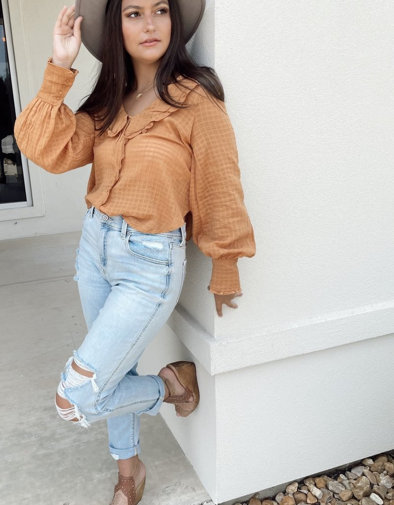 Camel Blouse with Ruffle Neckline and Button Details