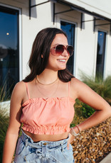 Coral Ruffle Cropped Tank