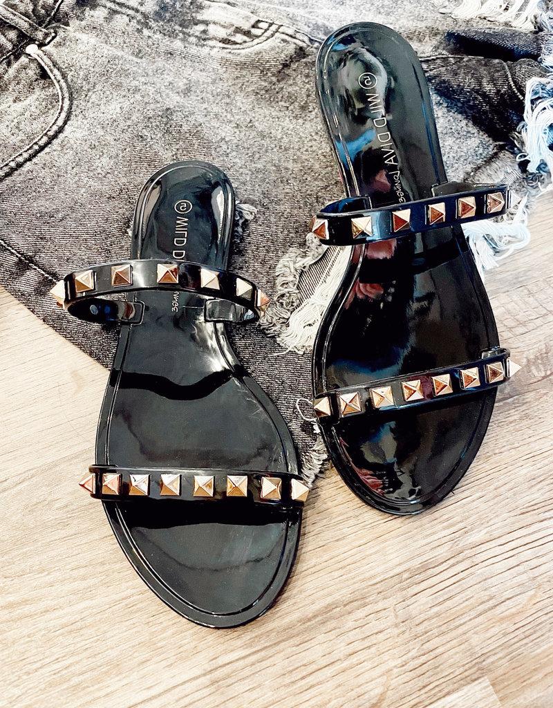 Shoe Maiden Black Studded Sandals