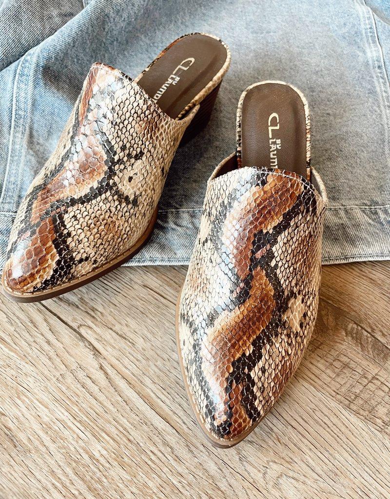 Catherine Snake Mule Slide-Natural