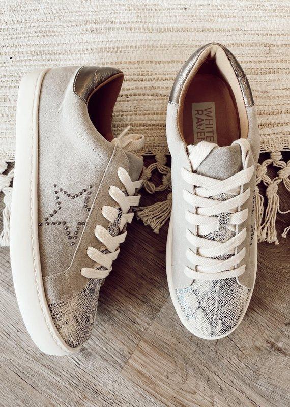 White Raven Gray Snake-Print Star Sneaker