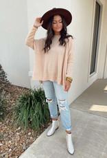 Taupe Round Neck Oversized Sweater