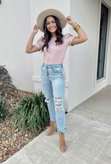 Blush Leather Puff Sleeve Knit Top