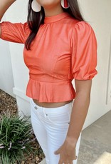 Puff Sleeve Backless Top