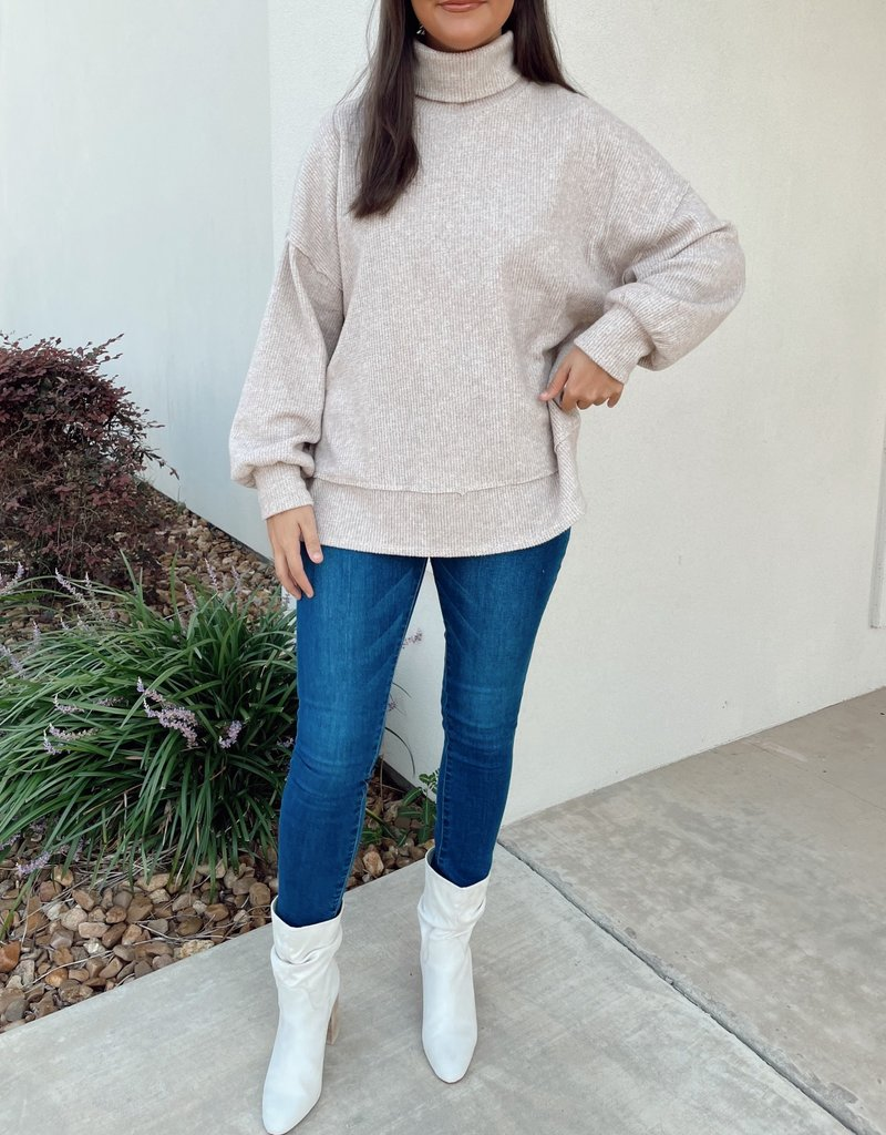 Cross-Stiched Turtle Neck Sweater