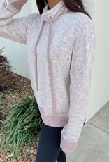 Burgandy Cowl-Neck Drawstring Sweater