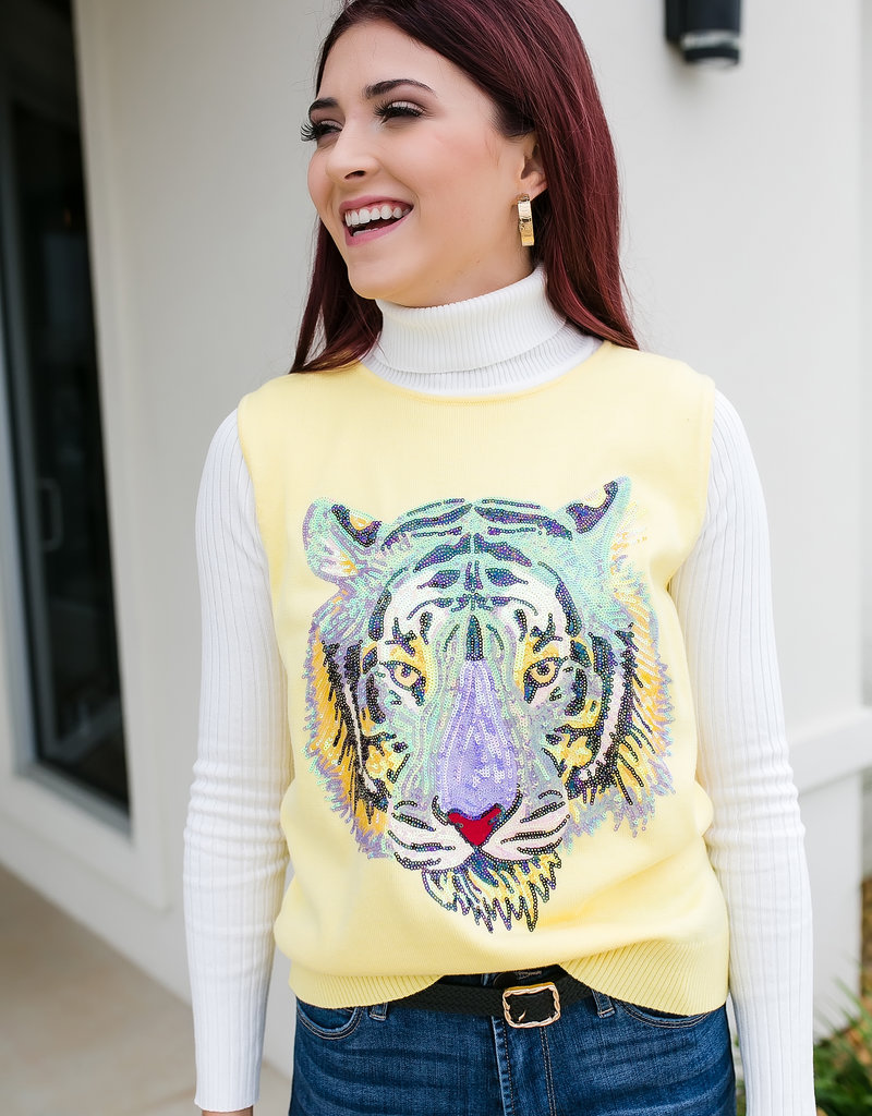 Sparkle City Co Yellow Tiger Face Sweater Vest