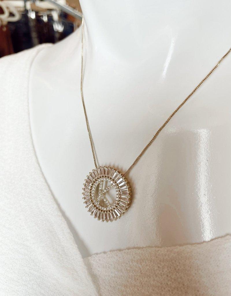 Round Rhinestone Inital Necklace