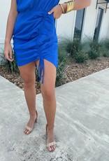 Royal Blue High Neck Drawstring Dress