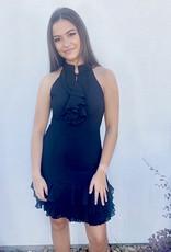 Black Ruffle Detail Dress with Pleated Hem