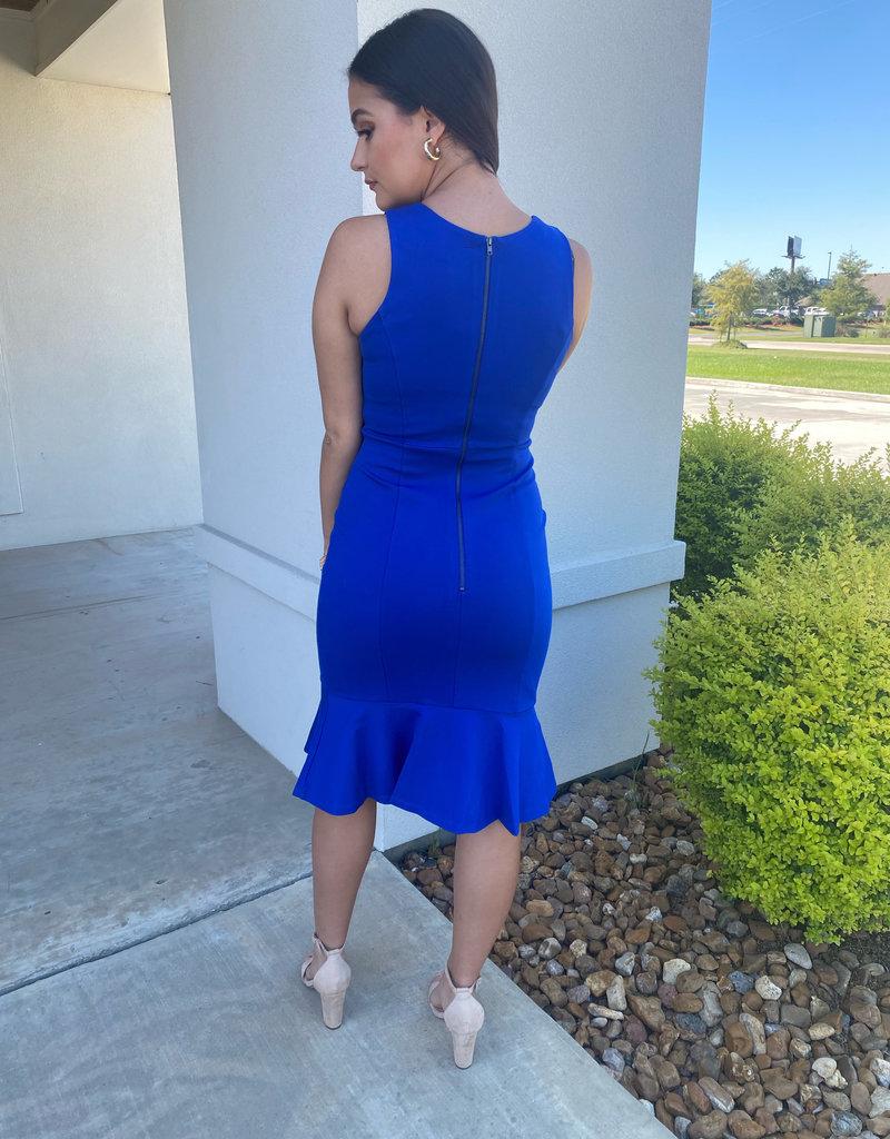 Royal Blue Round Neck Midi Dress