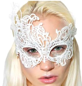 LGA White Fantasy Venetian Eye Mask