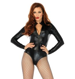 LGA High Neck Zip Front Wetlook Bodysuit